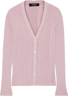 Theory Woman Pointelle-knit Cardigan Lilac
