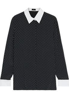 Theory Woman Poplin-trimmed Polka-dot Crepe Shirt Black
