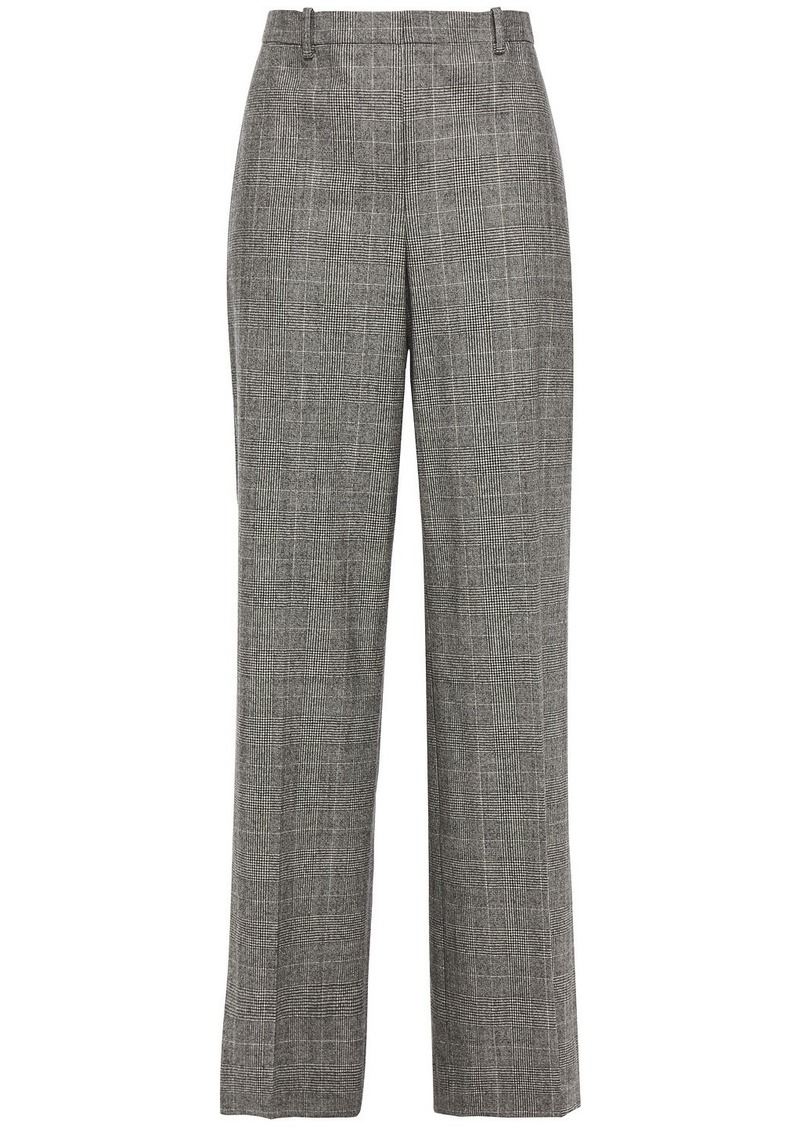 Theory Woman Prince Of Wales Checked Stretch-wool Wide-leg Pants Black
