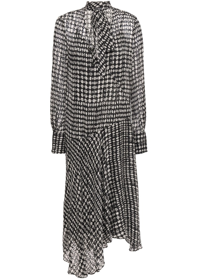 Theory Woman Pussy-bow Polka-dot Fil Coupé Chiffon Midi Dress Dark Gray