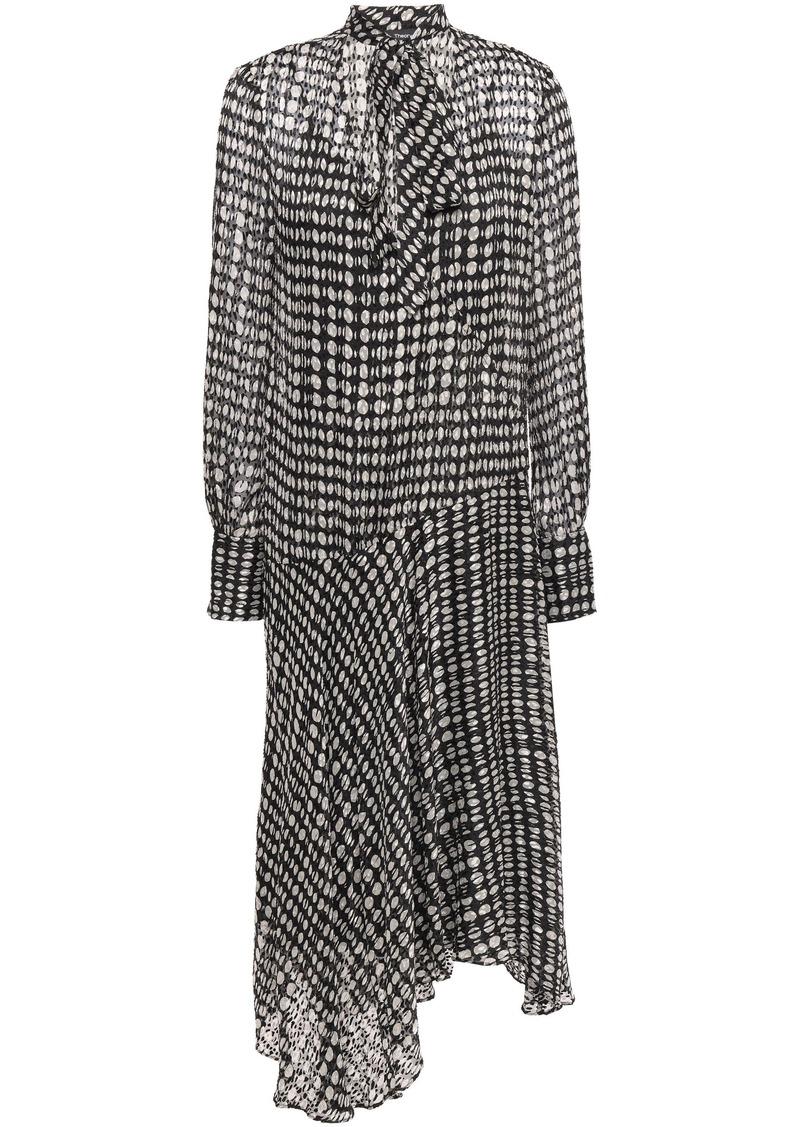 Theory Woman Pussy-bow Polka-dot Fil Coupé Chiffon Midi Dress Dark Gray