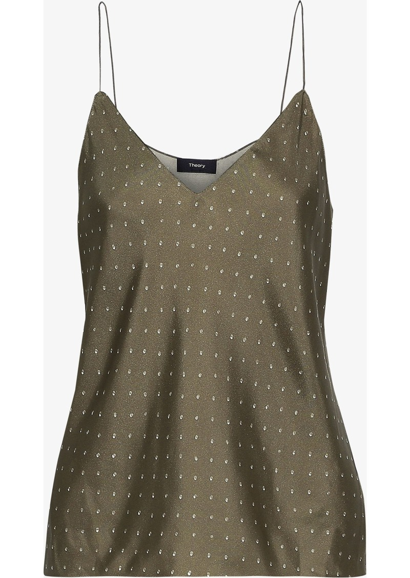 Theory Woman Printed Silk Camisole Army Green