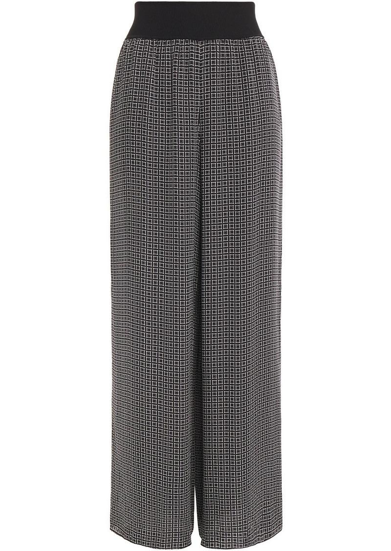 Theory Woman Printed Silk Crepe De Chine Wide-leg Pants Black