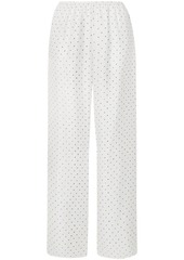 Theory Woman Printed Silk-satin Twill Wide-leg Pants White