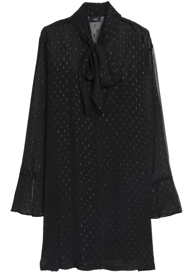 Theory Woman Pussy-bow Metallic Fil Coupé Silk-blend Mini Dress Black