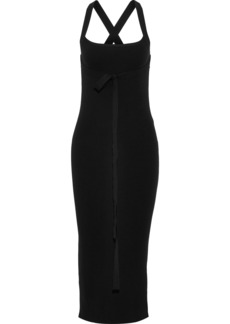 Theory Woman Tie-detailed Ribbed-knit Midi Dress Black