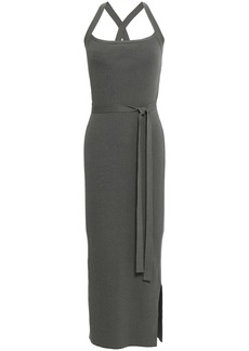 Theory Woman Tie-detailed Ribbed-knit Midi Dress Grey Green