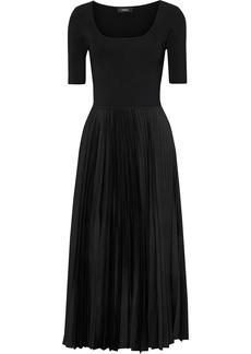 Theory Woman Ribbed Knit-paneled Pleated Satin-crepe Midi Dress Black