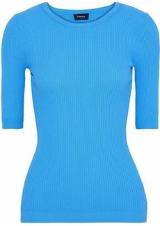 Theory Woman Ribbed-knit Top Azure