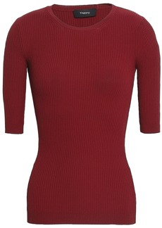 Theory Woman Ribbed-knit Top Burgundy