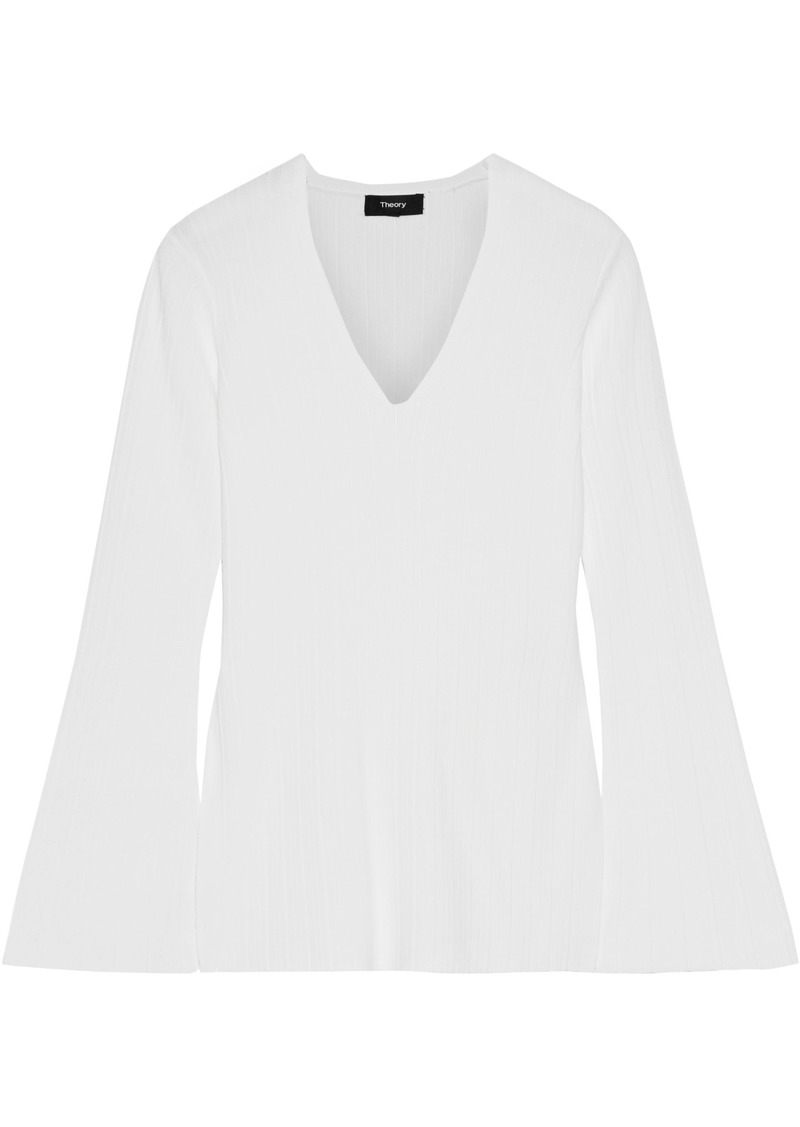 Theory Woman Ribbed-knit Top White