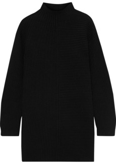 Theory Woman Ribbed Merino Wool-blend Turtleneck Mini Dress Black