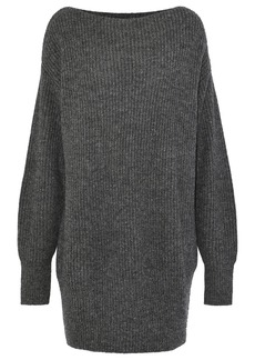 Theory Woman Ribbed Wool-blend Mini Dress Dark Gray