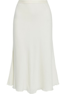 Theory Woman Ruffle-trimmed Silk-blend Crepe De Chine Skirt Ivory