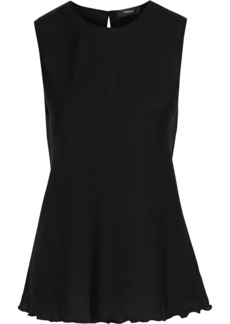 Theory Woman Ruffle-trimmed Silk-blend Crepe De Chine Tank Black
