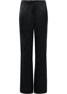 Theory Woman Split-side Satin-jacquard Wide-leg Pants Black