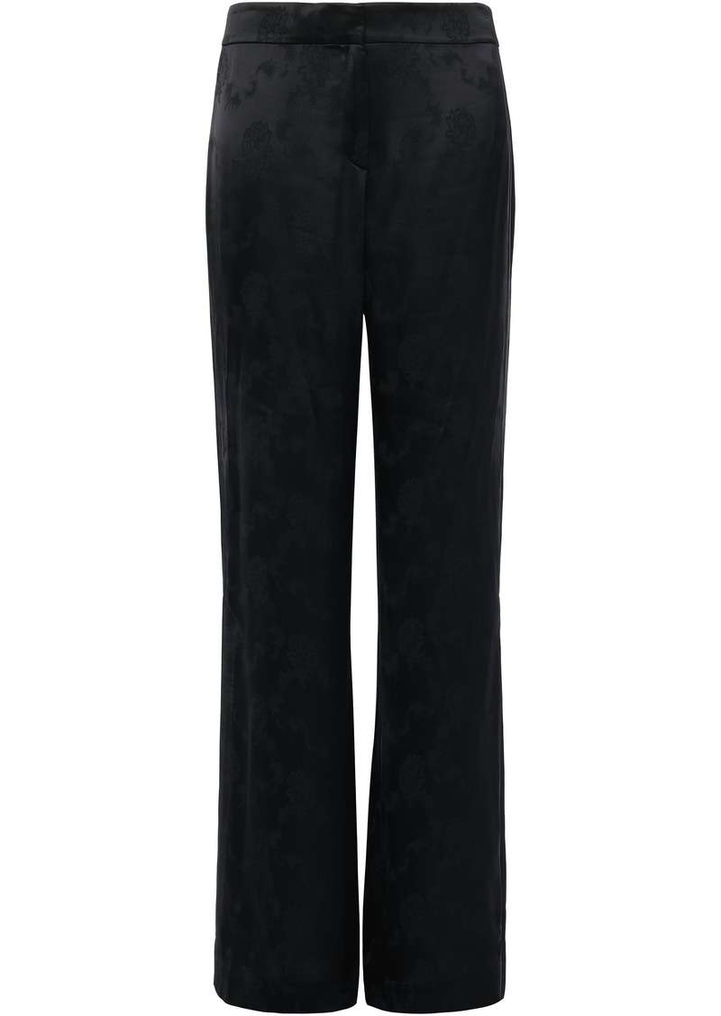 Theory Woman Split-side Satin-jacquard Wide-leg Pants Black