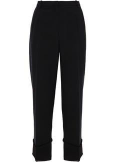 Theory Woman Satin-trimmed Grain De Poudre Wool Straight-leg Pants Black