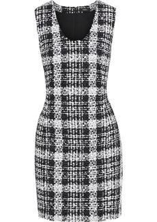 Theory Woman Sculpt U Checked Bouclé-tweed Mini Dress Black