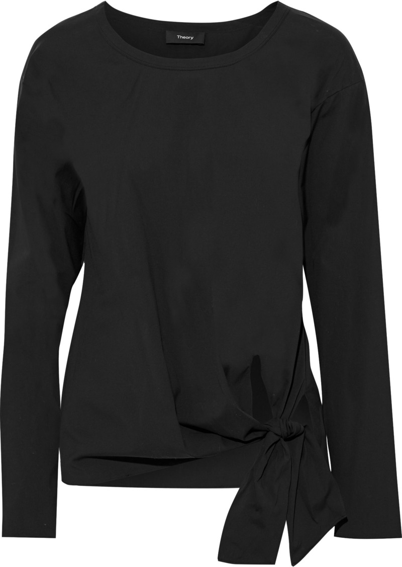 Theory Woman Serah Knotted Stretch Cotton-poplin Blouse Black