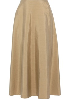 Theory Woman Shantung Midi Skirt Sand