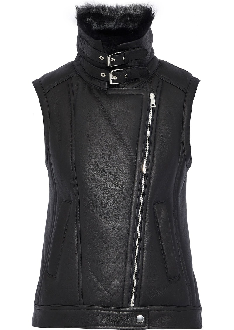 Theory Woman Shearling Vest Black