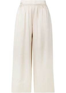 Theory Woman Shirred Silk-satin Culottes Neutral
