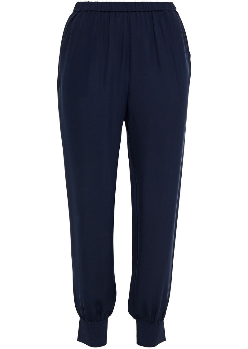 Theory Woman Gathered Silk-crepe Tapered Pants Navy