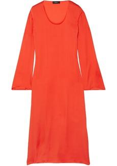 Theory Woman Silk-satin Midi Dress Tomato Red