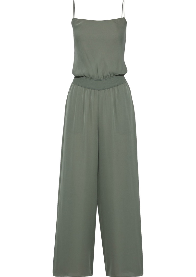 Theory Woman Silk Wide-leg Jumpsuit Sage Green