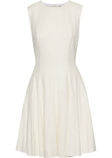 Theory Woman Sl Pleated Tweed Dress Ecru