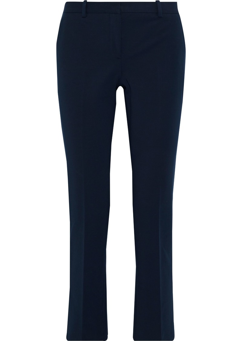 Theory Woman Stretch-cotton Slim-leg Pants Navy