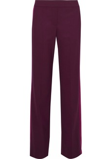 Theory Woman Traceable Paneled Stretch-wool Crepe Straight-leg Pants Plum