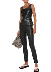 Theory Woman Stretch-leather Leggings Black