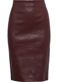 Theory Woman Stretch-leather Pencil Skirt Burgundy