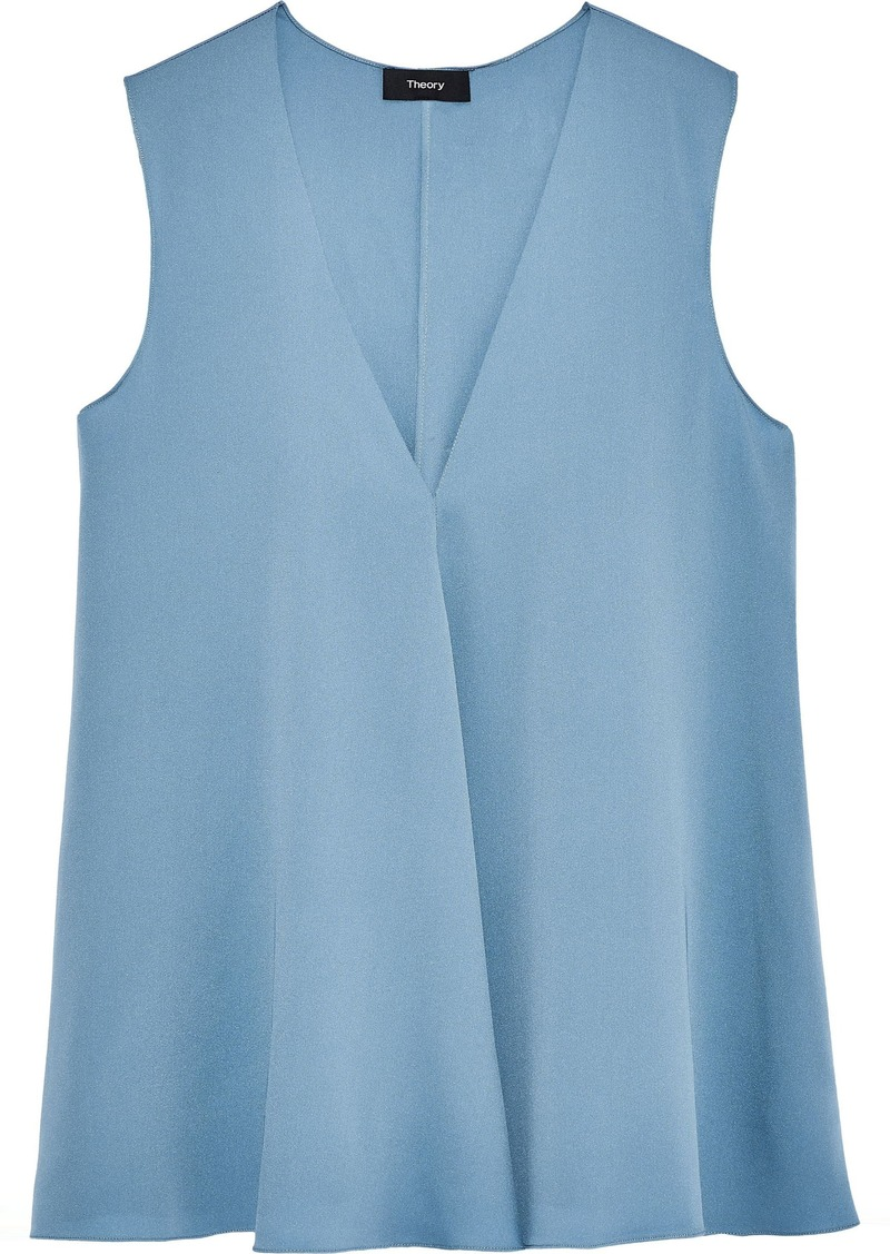 Theory Woman Draped Stretch-silk Top Light Blue