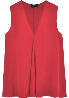 Theory Woman Draped Stretch-silk Blouse Red