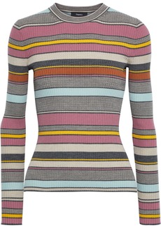 Theory Woman Striped Ribbed Wool Sweater Multicolor