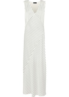 Theory Woman Striped Satin-jacquard Maxi Dress Ivory