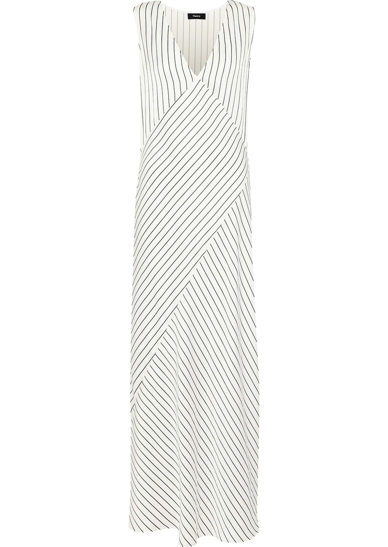 Theory Woman Striped Satin-jacquard Maxi Dress Ivory