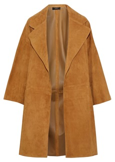 Theory Woman Suede Coat Camel