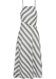 Theory Woman Summer Athens Striped Cotton And Silk-blend Midi Dress Ivory