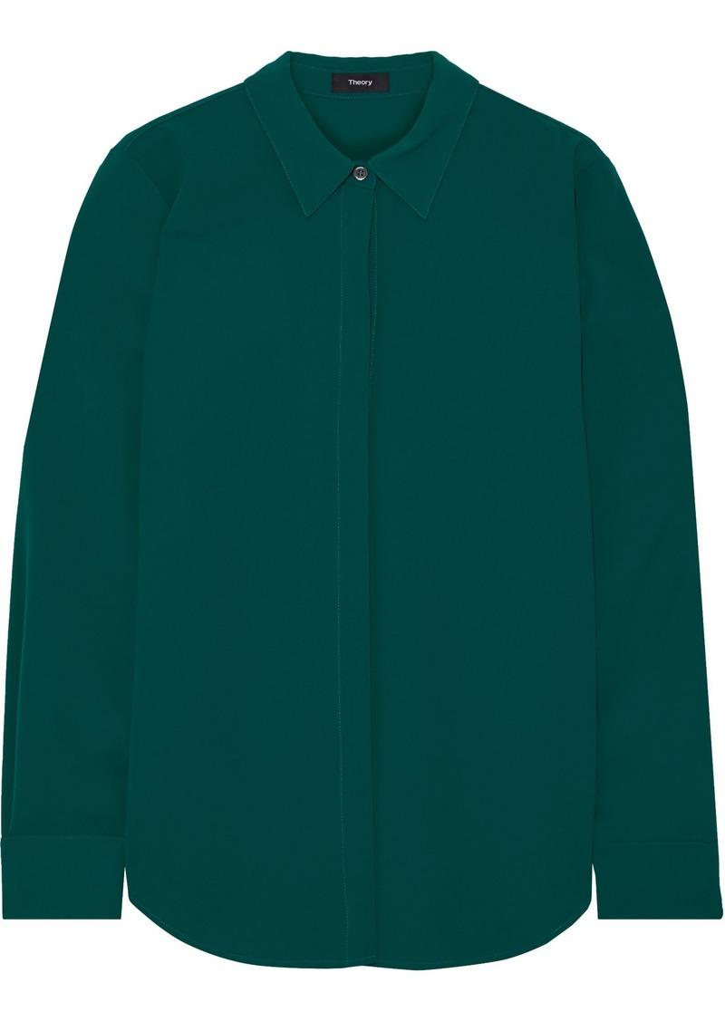 Theory Woman Sunaya Crepe Shirt Emerald
