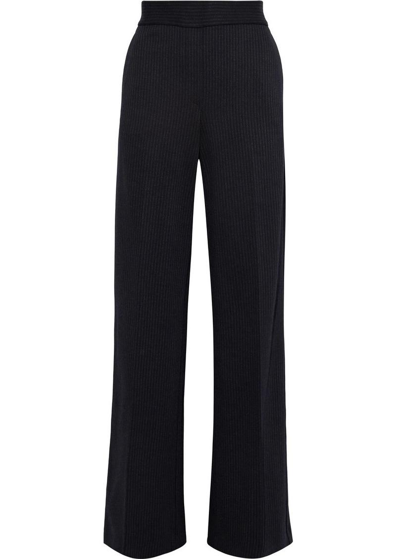 Theory Woman Talbert Pinstriped Stretch-knit Wide-leg Pants Navy