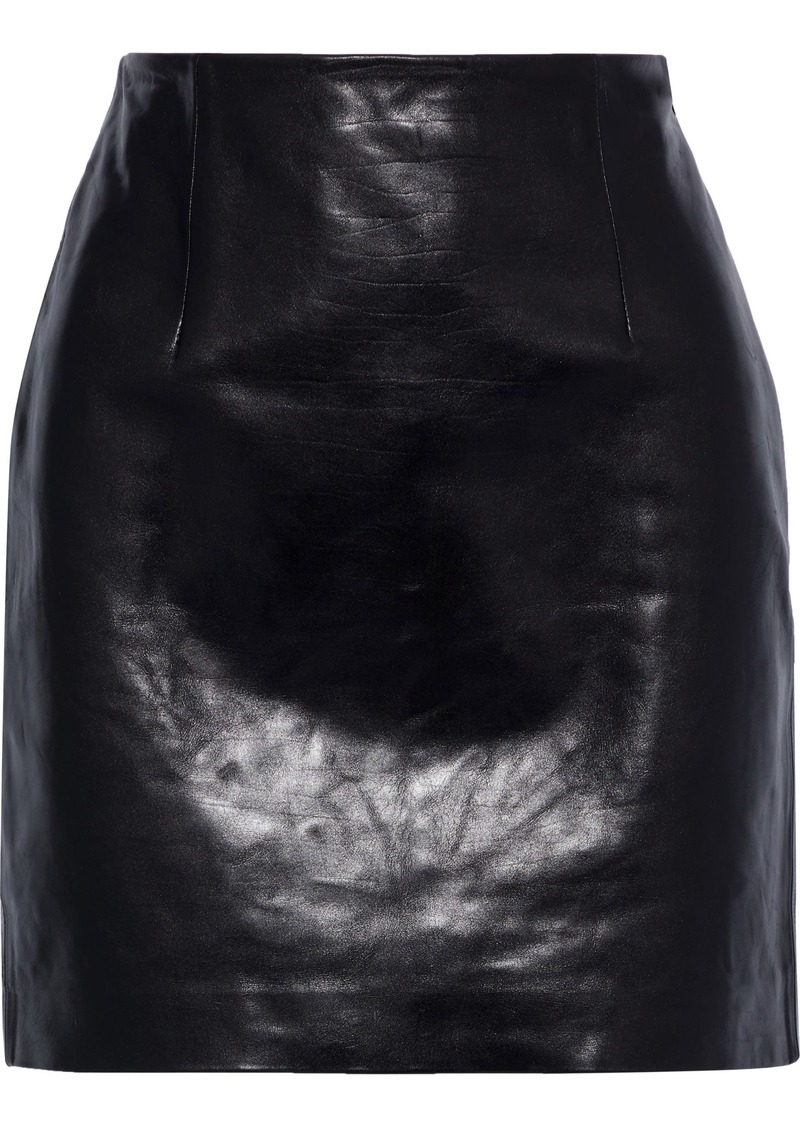 Theory Woman Textured-leather Mini Skirt Black