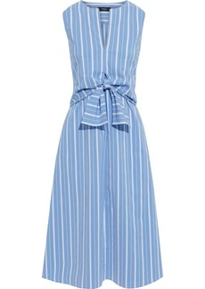 Theory Woman Tie-front Layered Striped Cotton-blend Poplin Dress Azure