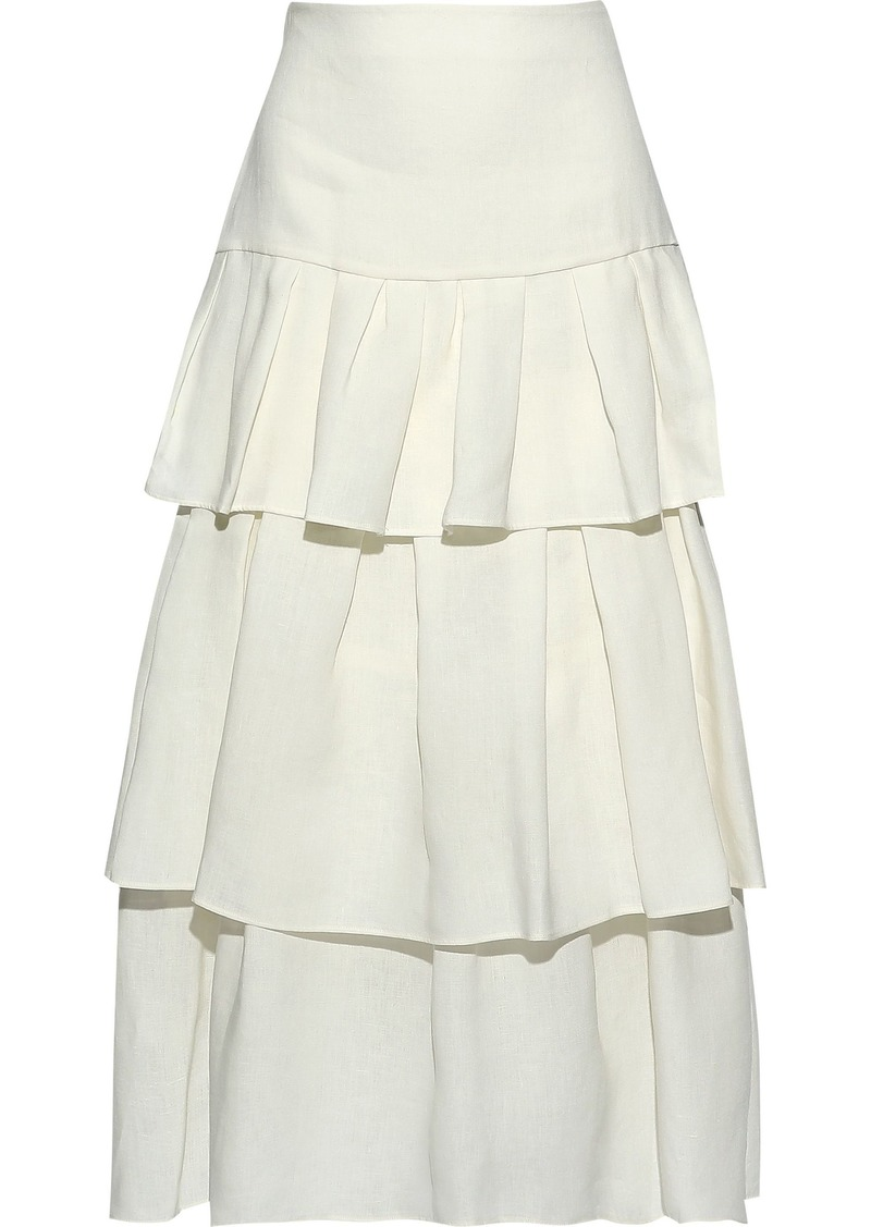 Theory Woman Tiered Linen Midi Skirt White
