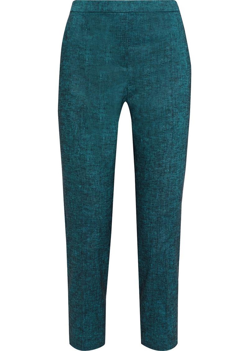 Theory Woman Cropped Mélange Linen-blend Slim-leg Pants Emerald
