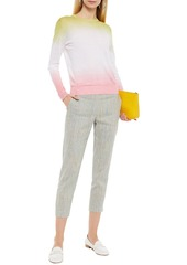 Theory Woman Treeca Cropped Mélange Linen-blend Slim-leg Pants Multicolor