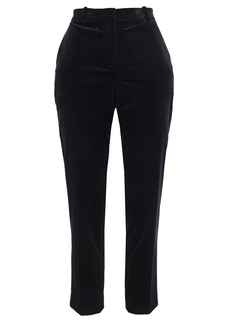 Theory Woman Cotton-blend Velvet Slim-leg Pants Black